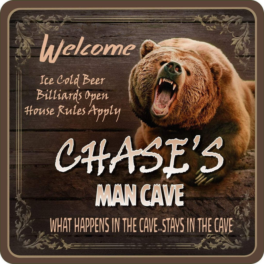 Grizzly Bear Personalized Man Cave Sign with Woodgrain Background