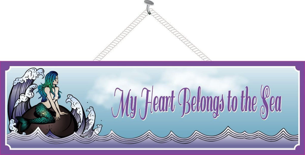 Mermaid Sign in Purple with Beach Quote