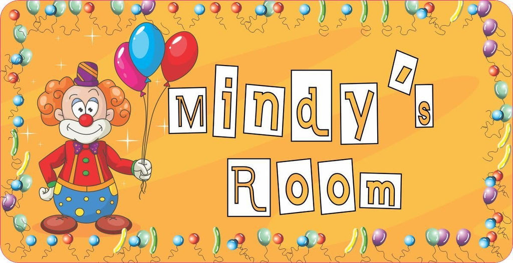 Personalized Clown Kids Room Sign with Balloon Border