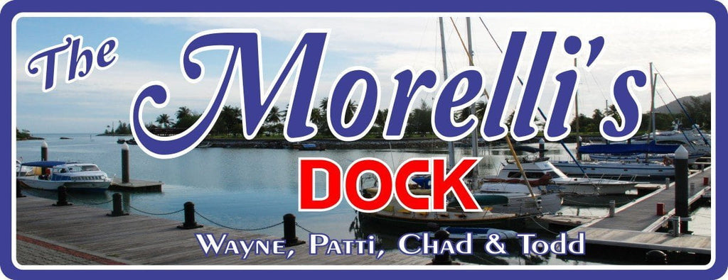 Classic Marina Personalized Dock Sign with Boats & Distant Palm Trees