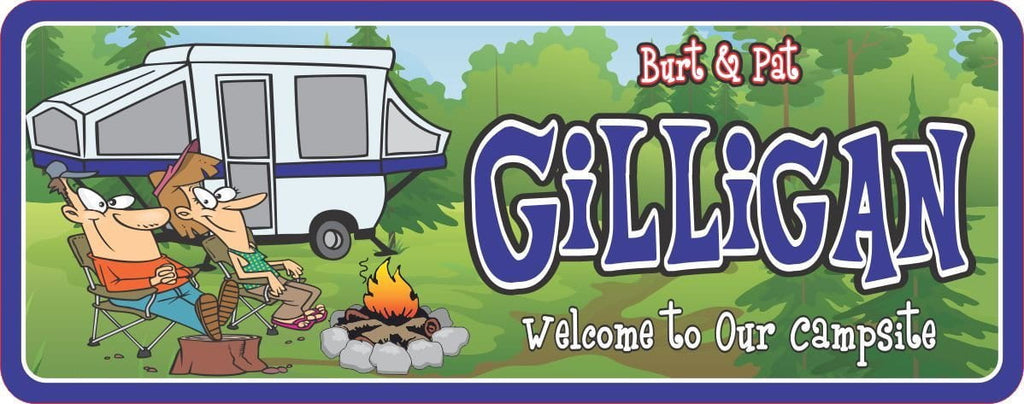 RV Camping Personalized Sign With Cartoon Couple, Classic RV, Campfire, Camping Accessories and Sign Quote