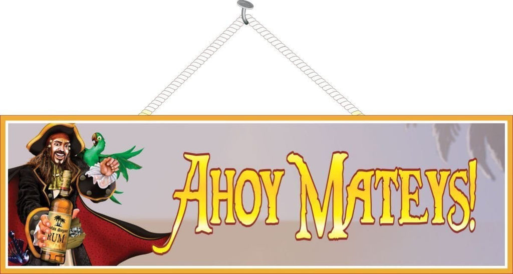 Ahoy Mateys Pirate Sign with Green Parrot & Rum