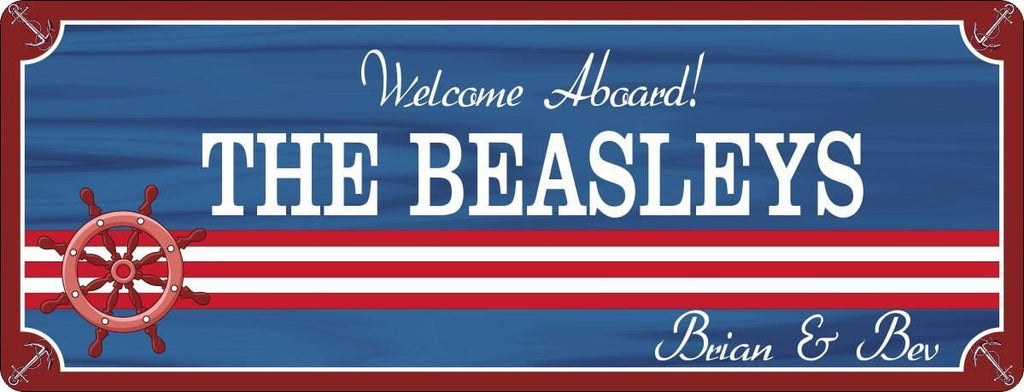 Welcome Aboard Personalized Boat Sign with Ship Wheel and Anchor Border