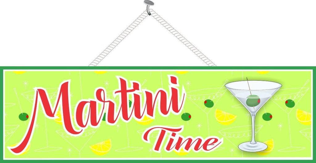 Green Martini Time Bar Sign with Long Stemmed Glass. Olives and Lemon Wedges