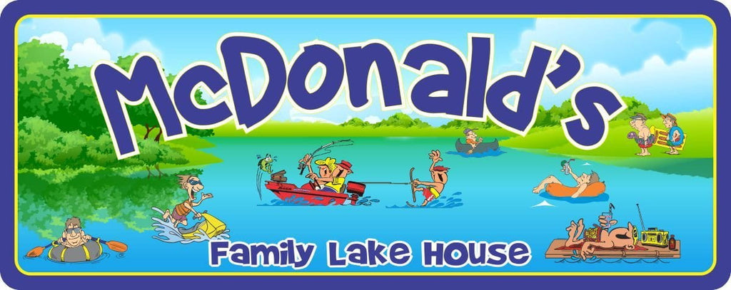 Cartoon Family Personalized Lake House Sign with Boat, Rafts & Water Skier