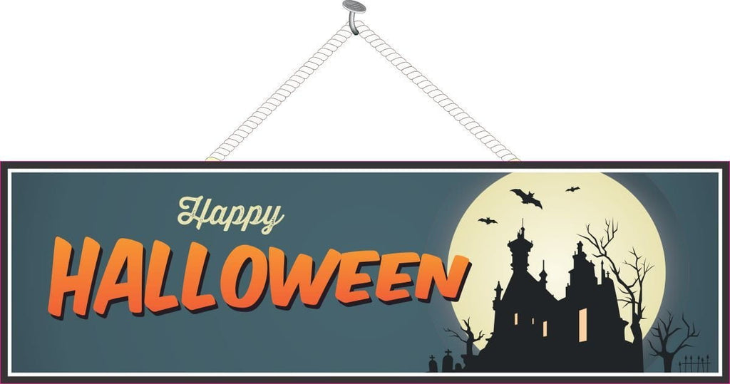 Haunted House Halloween Sign with Bats and Full Moon