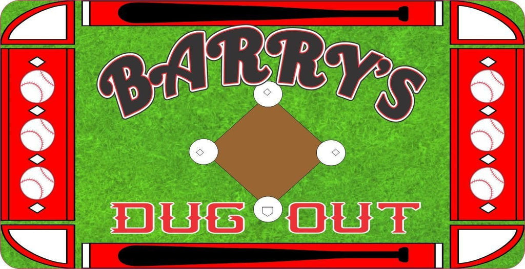 Dug Out Personalized Baseball Sign with Bats & Balls Border