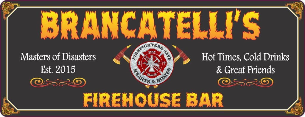 Black Firehouse Bar Sign with Custom Name & Fire Rescue Emblem