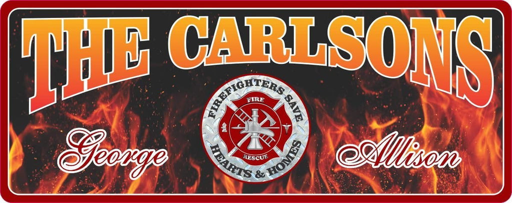 Firefighter Personalized Welcome Sign with Flame Background and Fire Rescue Emblem