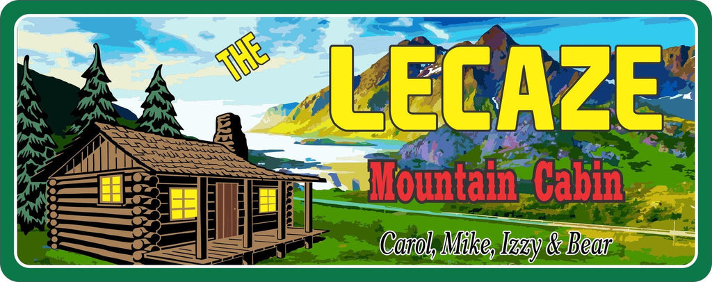 Log Cabin Sign with Mountains & Pine Trees
