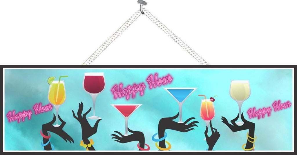 Happy Hour Bar Sign with Pink Neon Lights and Raised Glasses