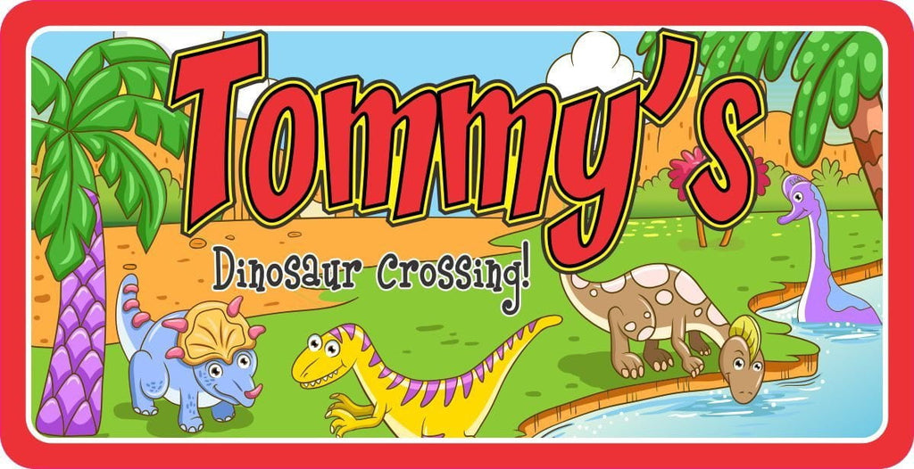 Dinosaur Crossing Personalized Sign