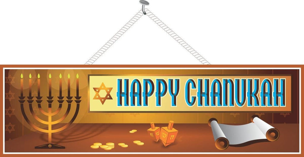 Happy Chanukah Gold Holiday Sign with Coins, Menorah and Dreidels