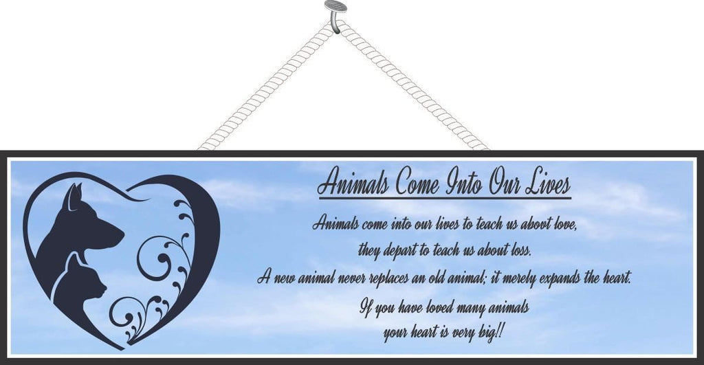 Blue Sky Pet Memorial Sign with Poem & Animal Silhouettes