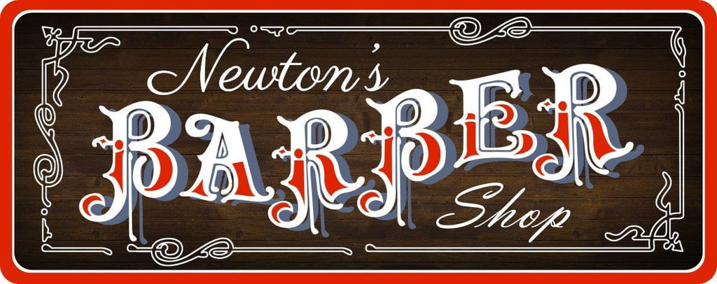Dark Brown Barber Shop Sign with Custom Name