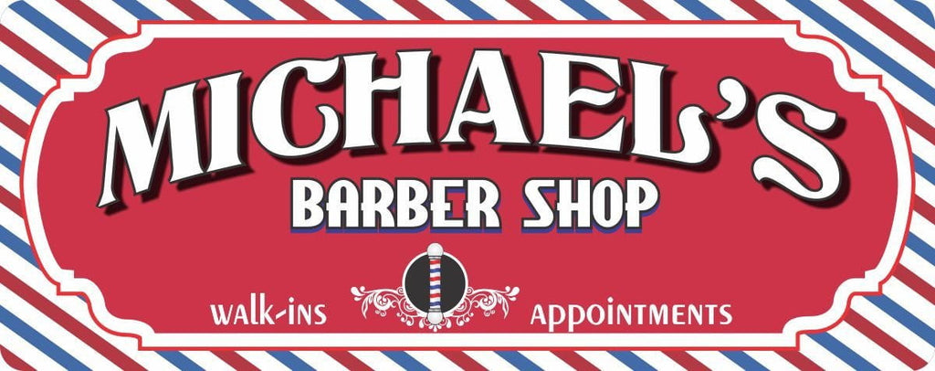 Custom Barber Shop Sign in Red White & Blue