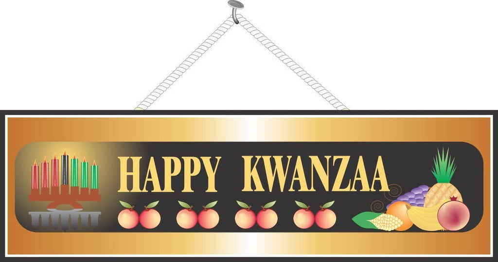 Gold Kwanzaa Sign with Kinara