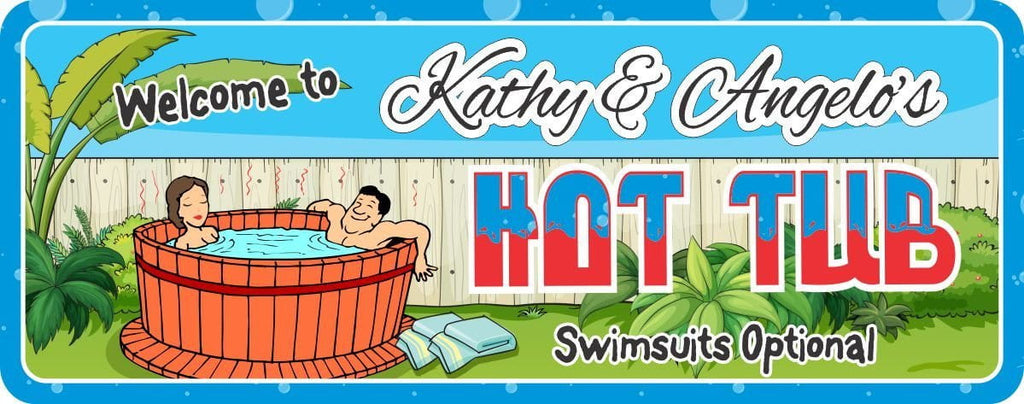 Swimsuits Optional Custom Hot Tub Sign with Happy Couple