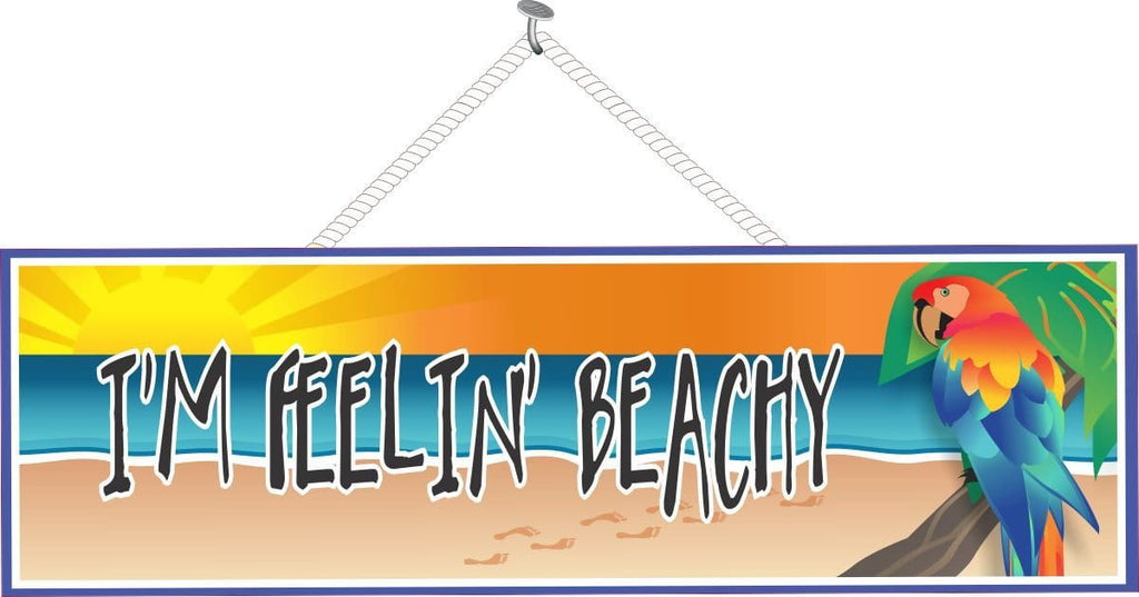 Ocean Sunset Novelty Sign with Parrot & Beach Quote
