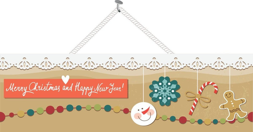 Gingerbread Holiday Sign with Garland & Snowman