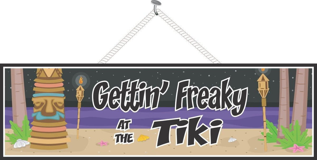 Funny Night Beach Sign with Tiki Totem & Torches
