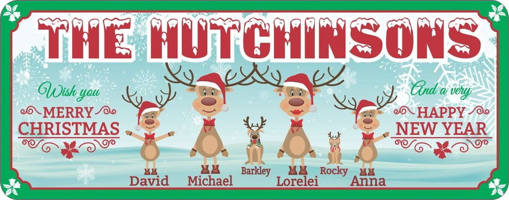 Custom Reindeer Family Christmas and New Year Sign with Snowflakes & Green Border