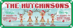 Family Reindeer Personalized Sign for Christmas