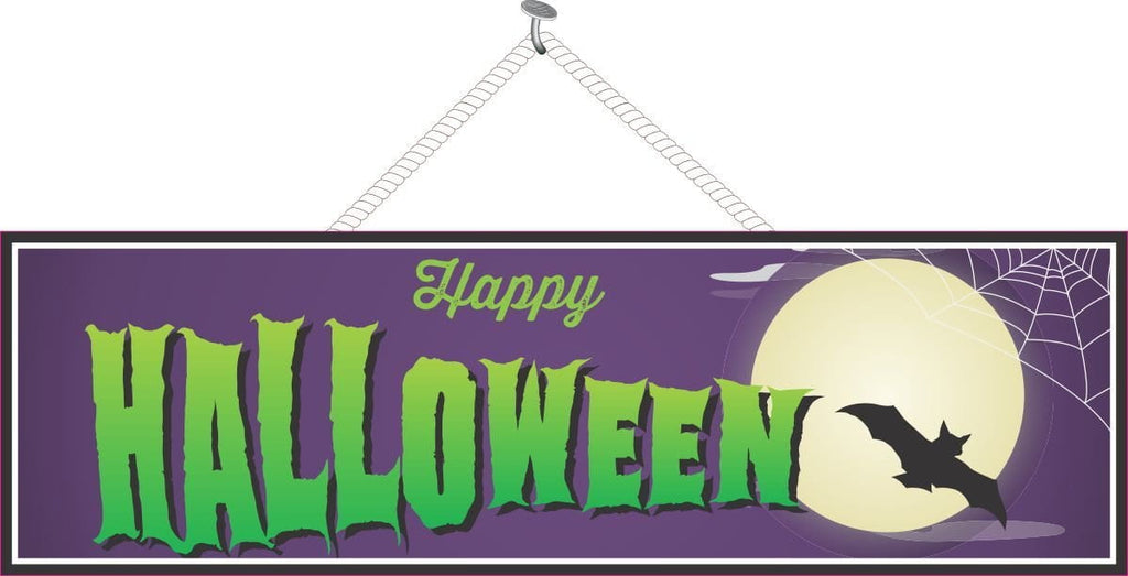 Purple Halloween Sign with Bat & Full Moon