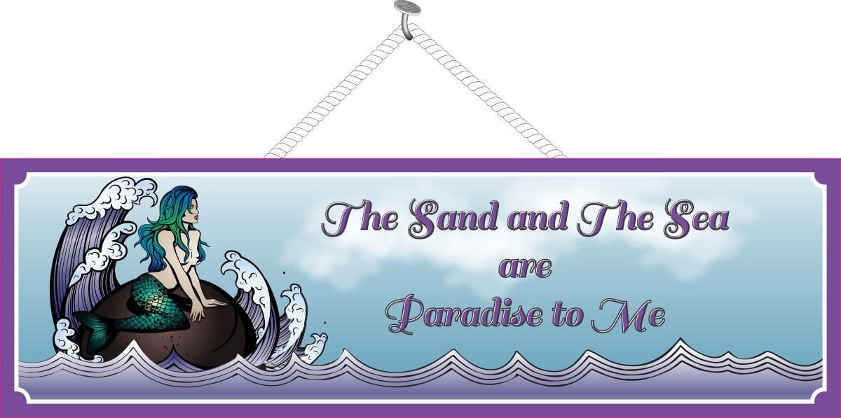 The Sand and the Sea are Paradise to Me Elegant Mermaid Sign in Purple with  Waves & Border