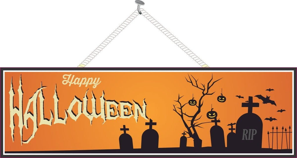 Happy Halloween Holiday Sign in Orange