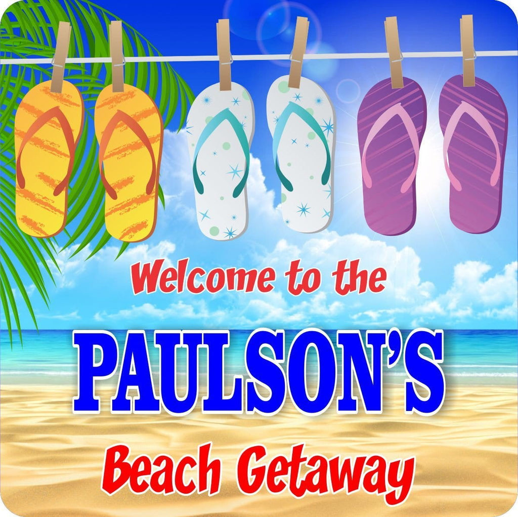 Beach Getaway Personalized Welcome Sign with Palm Tree Fronds & Flip Flops on a Clothes Line