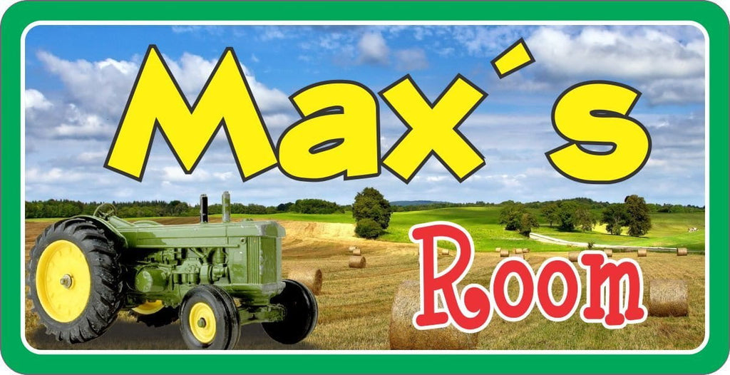 Farm Sign with Custom Name & Green Tractor