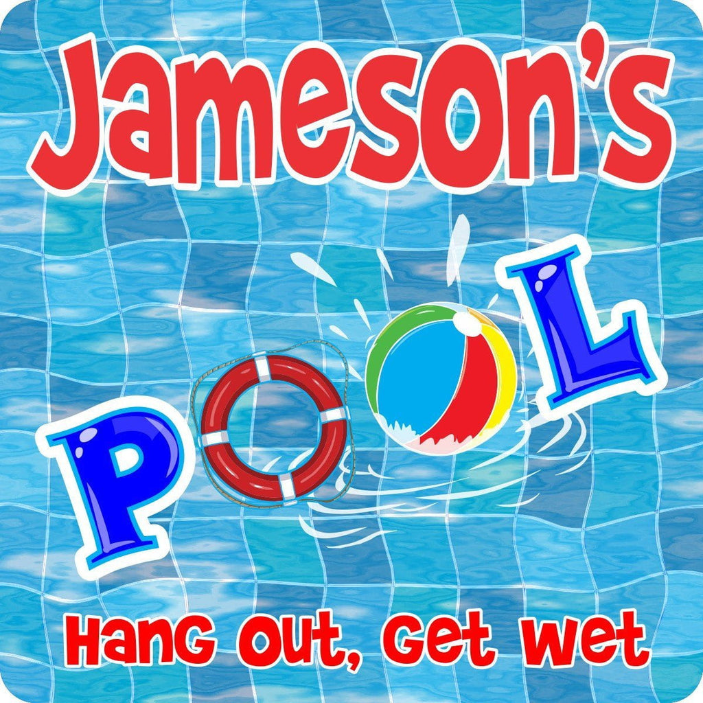 Swimming Pool Personalized Sign with Wavy Blue Mosaic Background, Beach Ball & Life Preserver