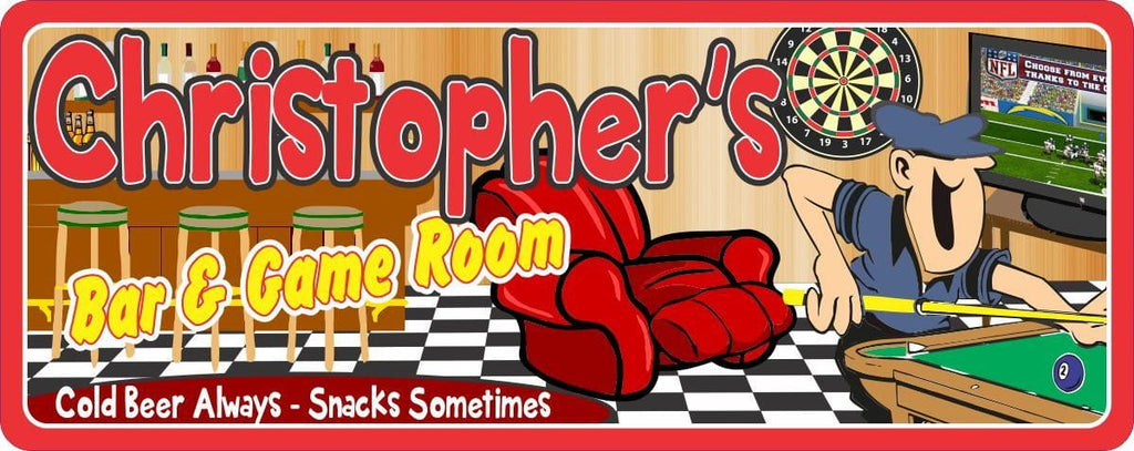 Personalized Bar & Game Room Sign with Pool Table, Dart Board, Bar Stools & Checkered Floor