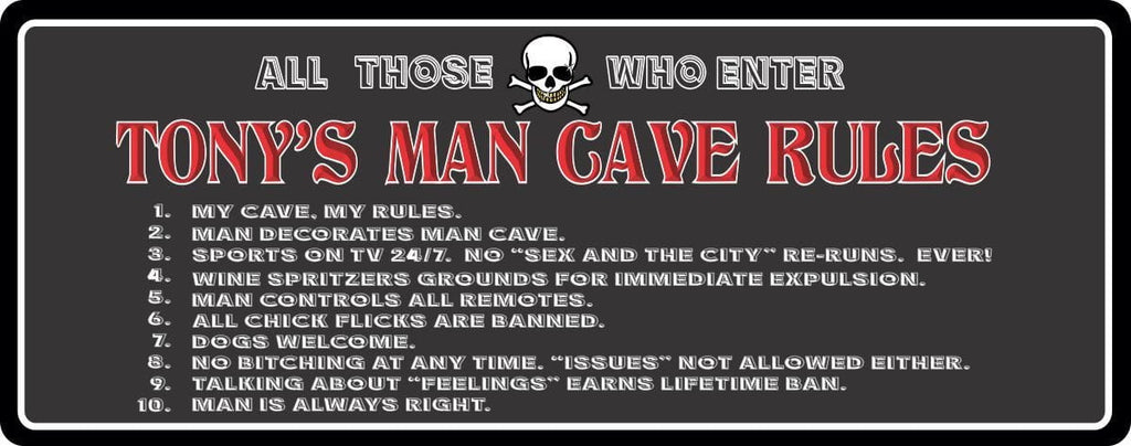 Man Cave Rules Custom Funny Novelty Sign - Personalized - Fun Sign Factory