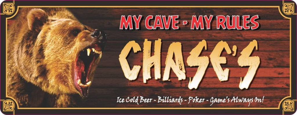 Man Cave Rules Bear Sign with Grizzly & Log Cabin Background
