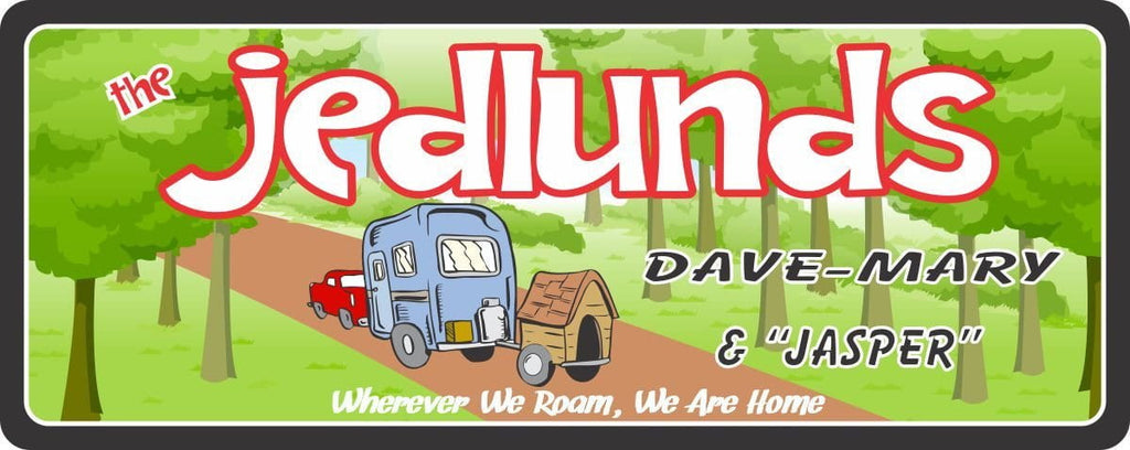 RV Camping Sign with Trailer, Dog House and Custom Name