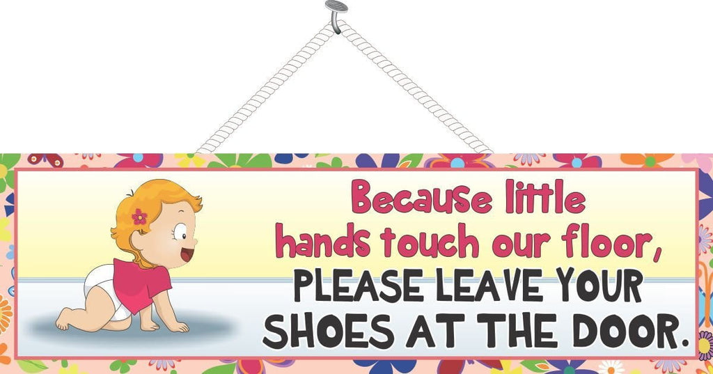 Remove Your Shoes Cute Baby Sign with Red Haired Toddler and Decorative Border