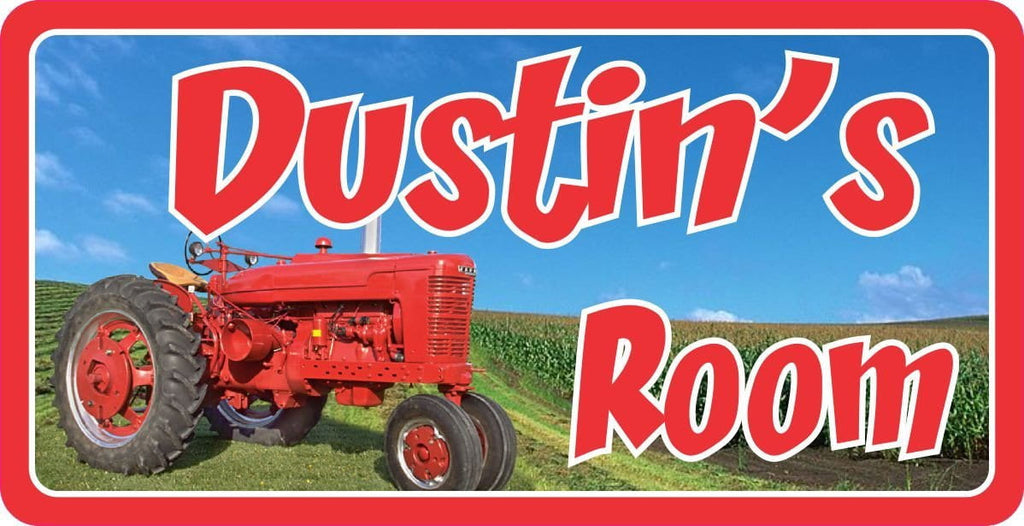 Red Tractor Kids Room Sign with Custom Name