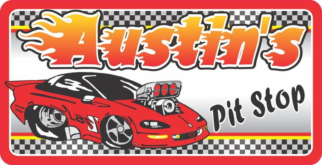 Red Race Car Sign with Custom Name