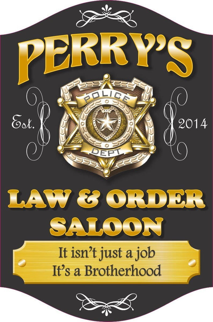 Law & Order Saloon Personalized Bar Sign with Police Badge, Elegant Flourishes & Gold Plaque
