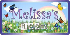 Butterfly Garden Kids Room Sign with Purple Border & Rainbow