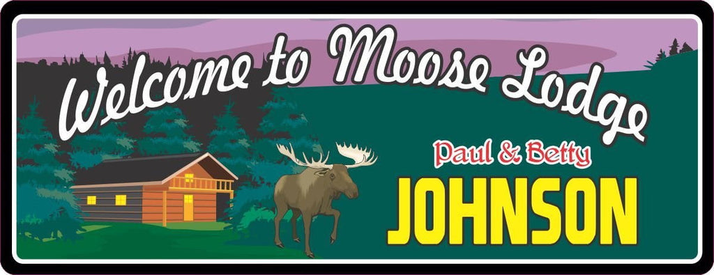 Moose Cabin Sign with Cabin