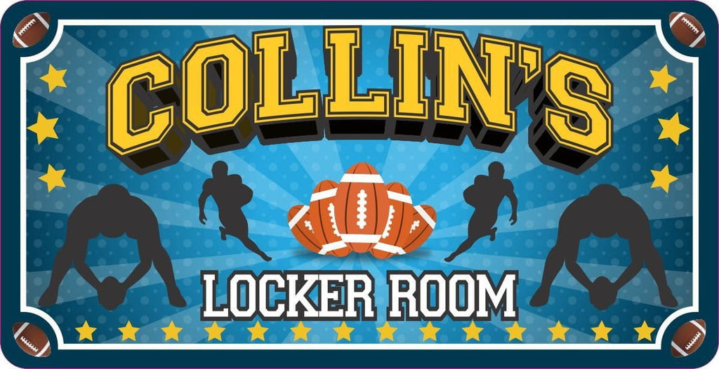 Blue Locker Room Sign with Football Theme