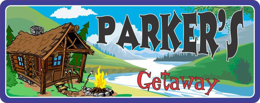 Riverside Getaway Personalized Cabin Sign with Green Hills & Campfire