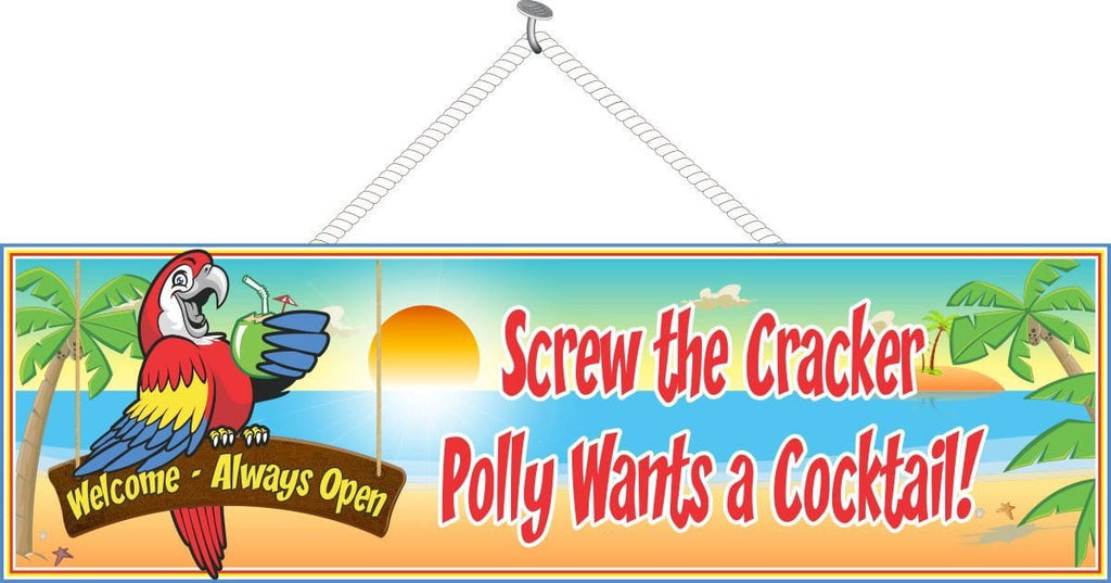 Beach Welcome Sign with Parrot & Funny Quote