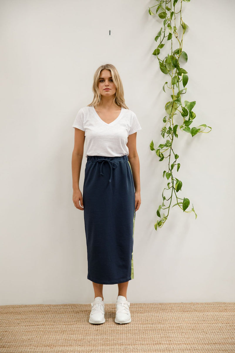 FOIL PENCIL SKIRT NAVY