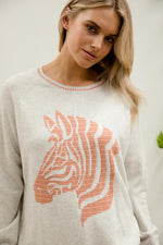 LIGHT GREY ZEBRA CREW KNIT
