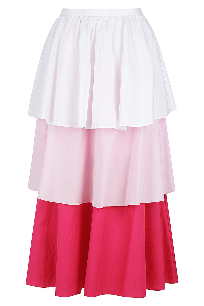 TIERED COLOUR BLOCK SKIRT