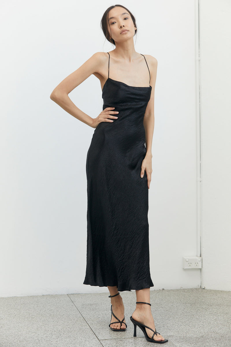 RIVER BED BIAS SLIP DRESS BLACK